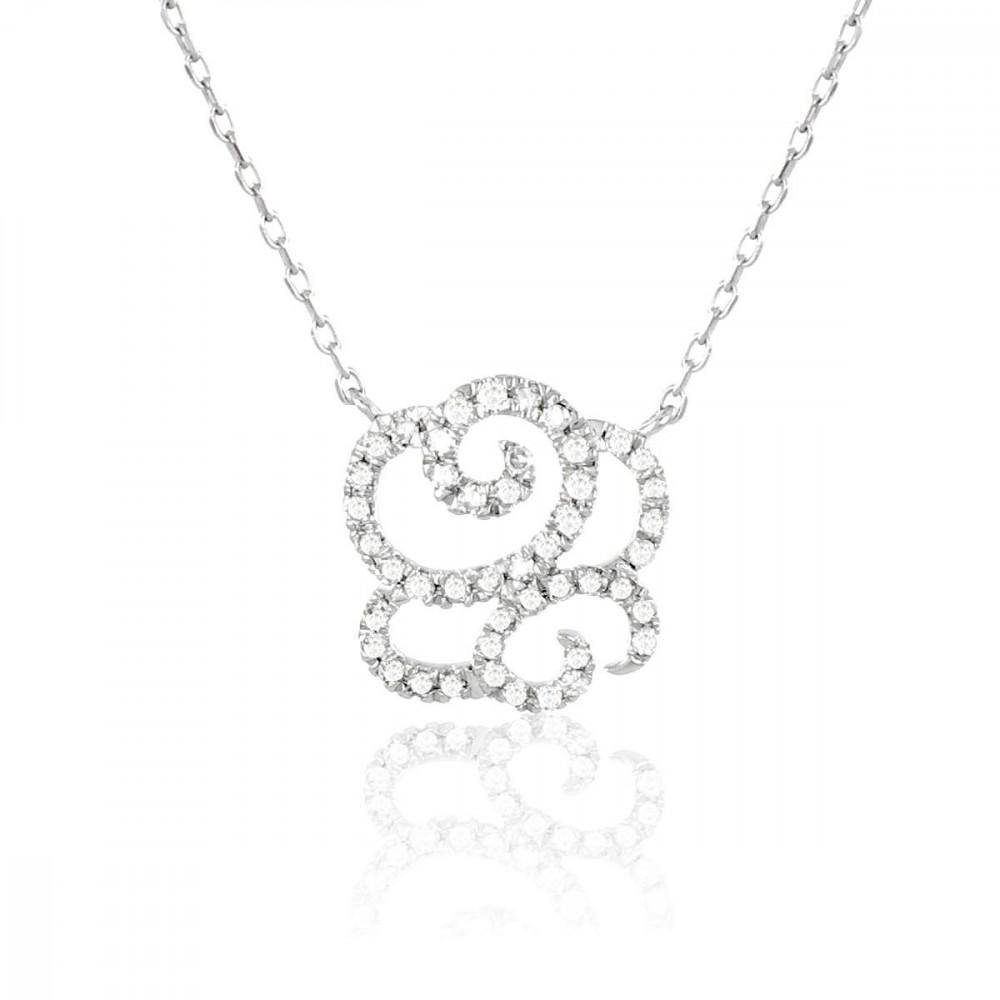 Collier fleur en Or 375/00 et diamants