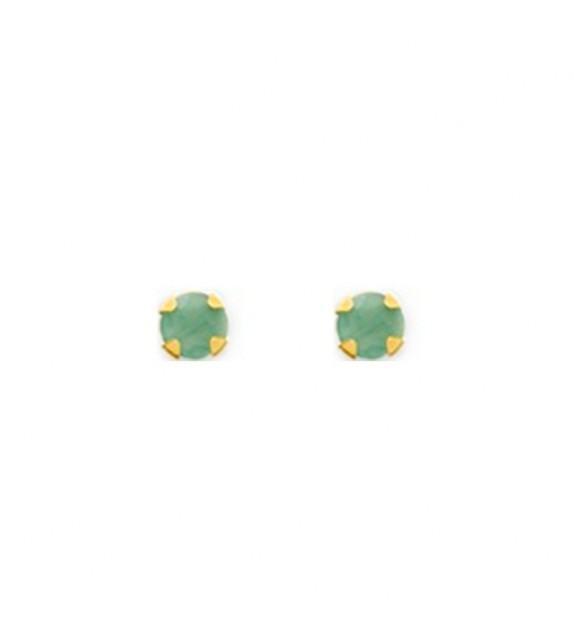 Boucles d'oreilles puces émeraudes 3mm en Or jaune 375/00
