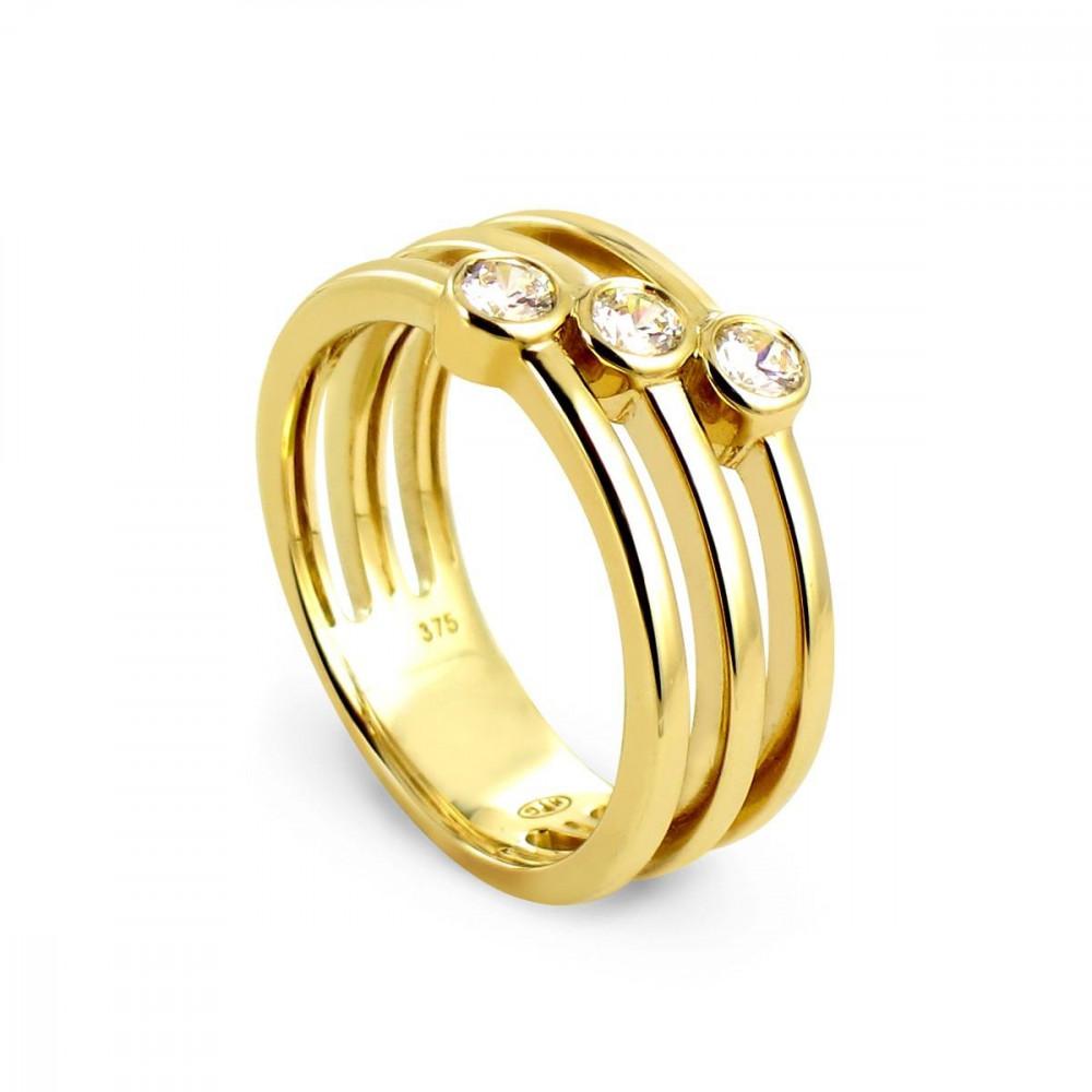 Bague 3 anneaux en Or jaune 375/00 avec oxydes de zirconium