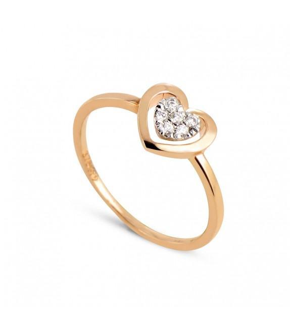Bague coeur pavée de diamants en Or rose 375/00