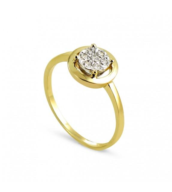 Bague ronde pavée de diamants en Or jaune 375/00