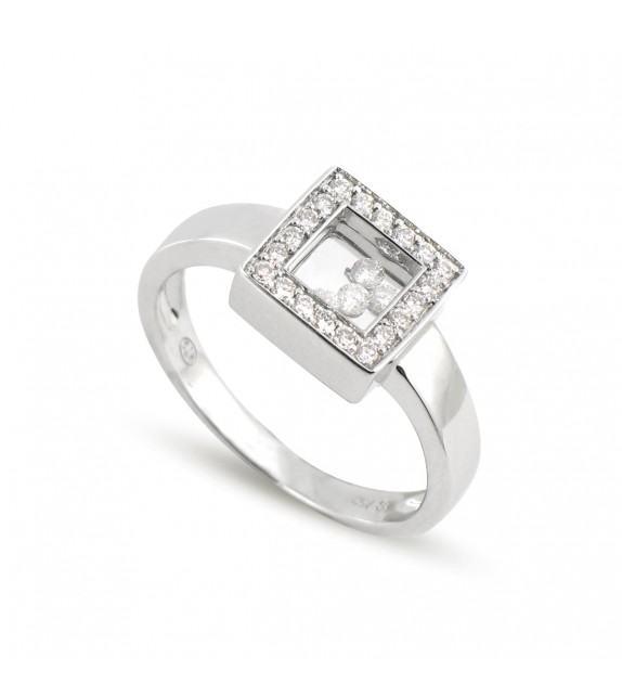 Bague carrée en Or blanc rhodié 750/00 et diamants libres