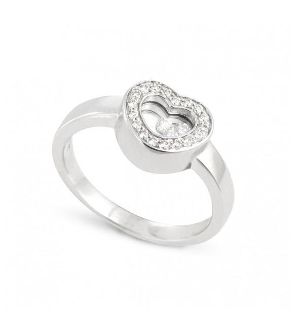 Bague coeur en Or blanc rhodié 750/00 et diamants libres