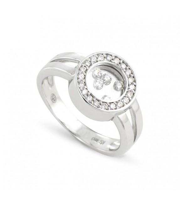 Bague ronde en Or blanc rhodié 750/00 et diamants libres