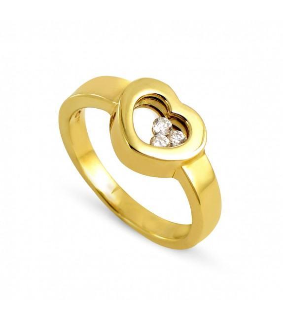 Bague coeur en Or jaune 750/00 et diamants libres