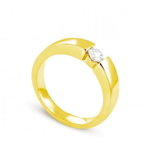 Solitaire en Or jaune 375/00 Diamant 0,25 - Taille 48 à 58