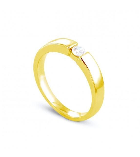 Solitaire en Or jaune 375/00 Diamant 0,15 - Taille 48 à 58