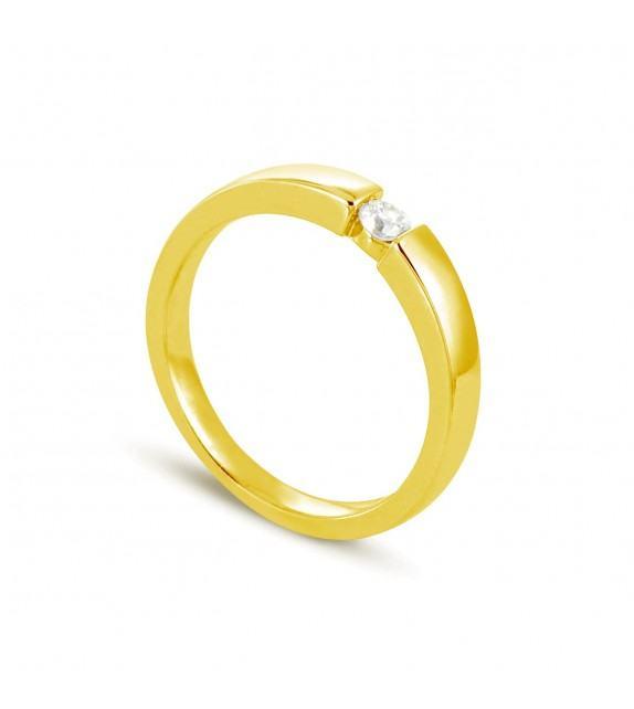 Solitaire en Or jaune 375/00 Diamant 0,1 - Taille 48 à 58