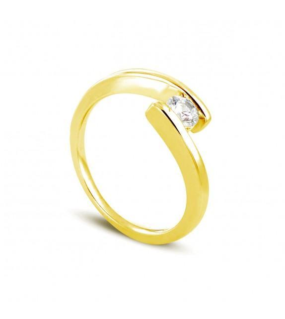 Solitaire en Or jaune 375/00 Diamant 0,2 - Taille 48 à 58