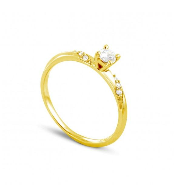 Solitaire Collection Duos en Or jaune 375/00 Diamant 0,24 - Taille 48 à 58