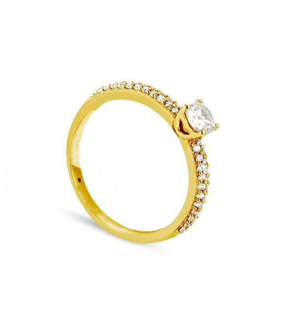 Solitaire Collection Duos en Or jaune 375/00 Diamant 0,31 - Taille 48 à 58
