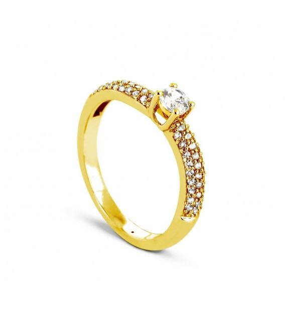 Solitaire Collection Duos en Or jaune 375/00 Diamant 0,26 - Taille 48 à 58