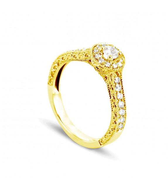 Solitaire Collection Duos en Or jaune 375/00 Diamant 0,43 - Taille 48 à 58