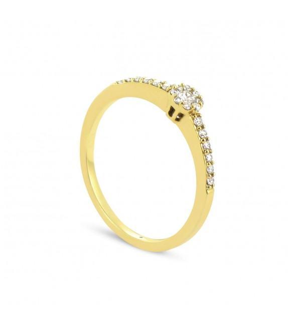 Solitaire Collection Duos en Or jaune 375/00 Diamant 0,17 - Taille 48 à 58