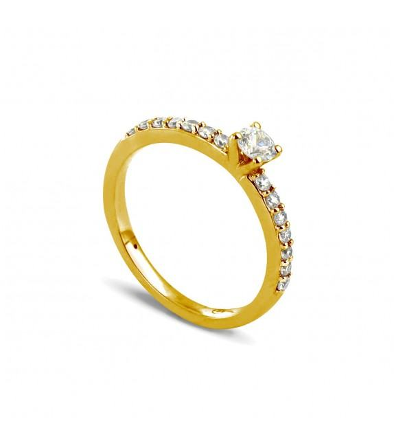 Solitaire Collection Duos en Or jaune 375/00 Diamant 0,36 - Taille 48 à 58