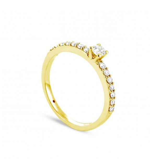 Solitaire Collection Duos en Or jaune 375/00 Diamant 0,3 - Taille 48 à 58