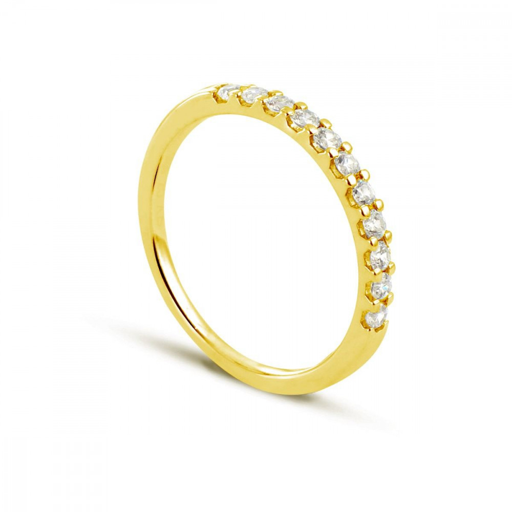 Alliance demi tour en Or jaune 375/00 Diamant 0,25 carat