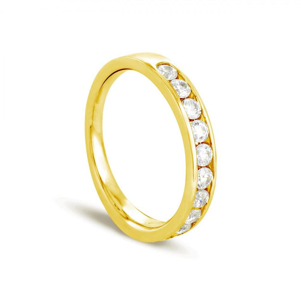 Alliance demi tour en Or jaune 375/00 Diamant 0,4 carat