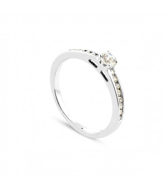 Solitaire Collection Duos en Or blanc 375/00 Diamant 0,42 carat - Taille 48 à 58