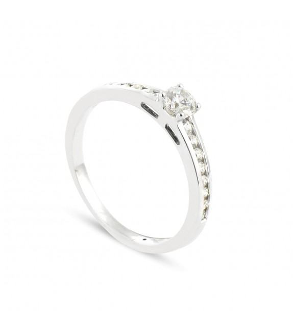 Solitaire Collection Duos en Or blanc 375/00 Diamant 0,38 carat - Taille 48 à 58