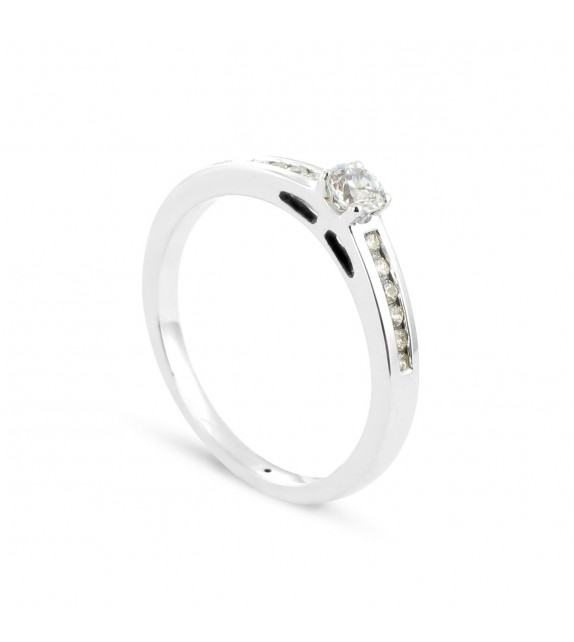 Solitaire Collection Duos en Or blanc 375/00 Diamant 0,25 carat - Taille 48 à 58