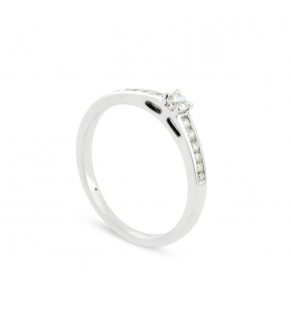 Solitaire Collection Duos en Or blanc 375/00 Diamant 0,2 carat - Taille 48 à 58