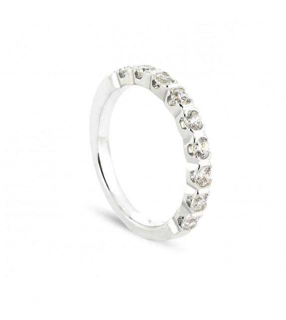 Alliance demi tour en Or blanc 375/00 Diamant 0,5 carat