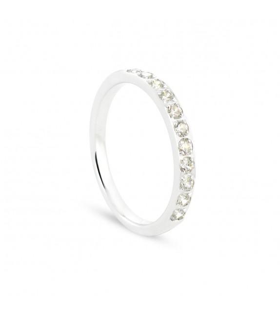 Alliance demi tour en Or blanc 375/00 Diamant 0,4 carat