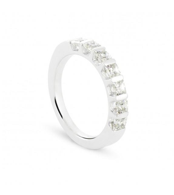 Alliance demi tour en Or blanc 375/00 Diamant 1,3 carat