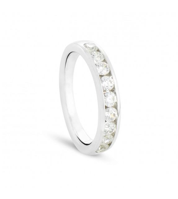 Alliance demi tour en Or blanc 375/00 Diamant 0,77 carat - Taille 48 à 58