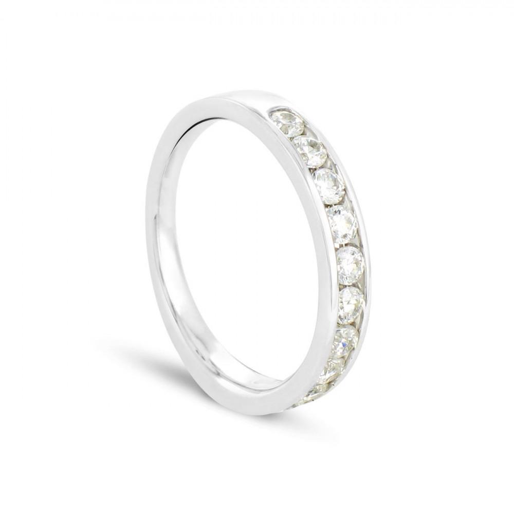 Alliance demi tour en Or blanc 375/00 Diamant 0,5 carat - Taille 48 à 58