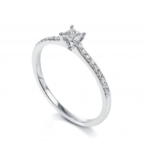 Solitaire princesse 4 griffes accompagné Platine diamant 0.35 carat