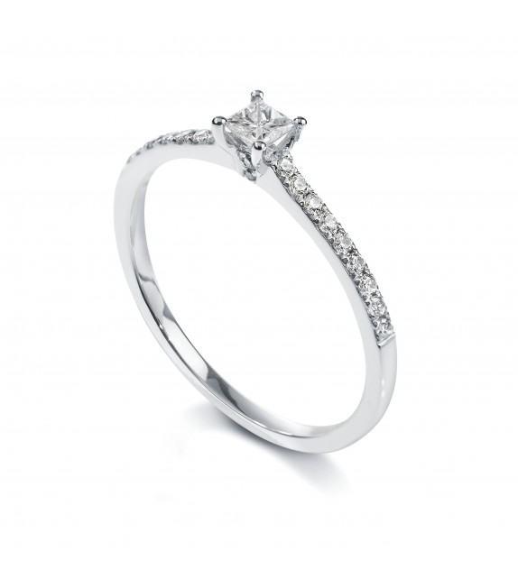 Solitaire princesse 4 griffes accompagné Or blanc 750/00 diamant 0.35 carat