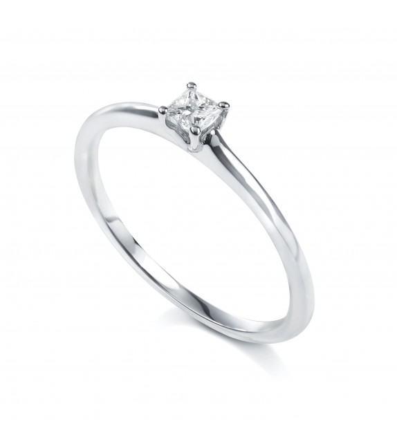Solitaire princesse 4 griffes Or blanc 750/00 diamant 0.15 carat
