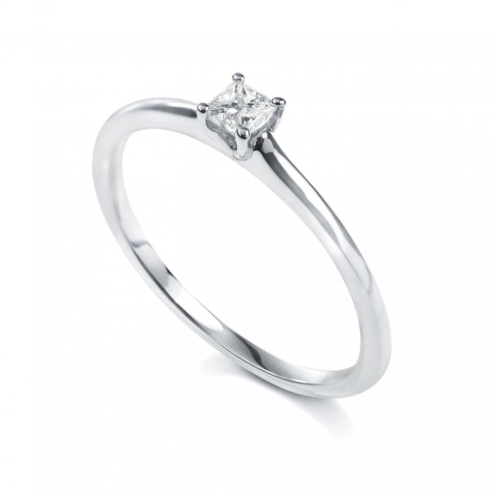 Solitaire princesse 4 griffes Or blanc 750/00 diamant 0.10 carat