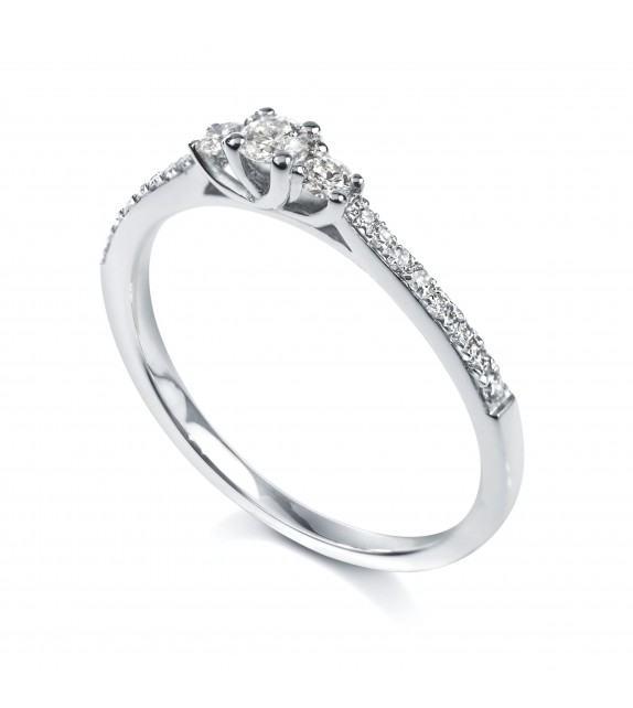 Solitaire trilogie 4 griffes accompagné Or blanc 750/00 diamant 0.37 carat