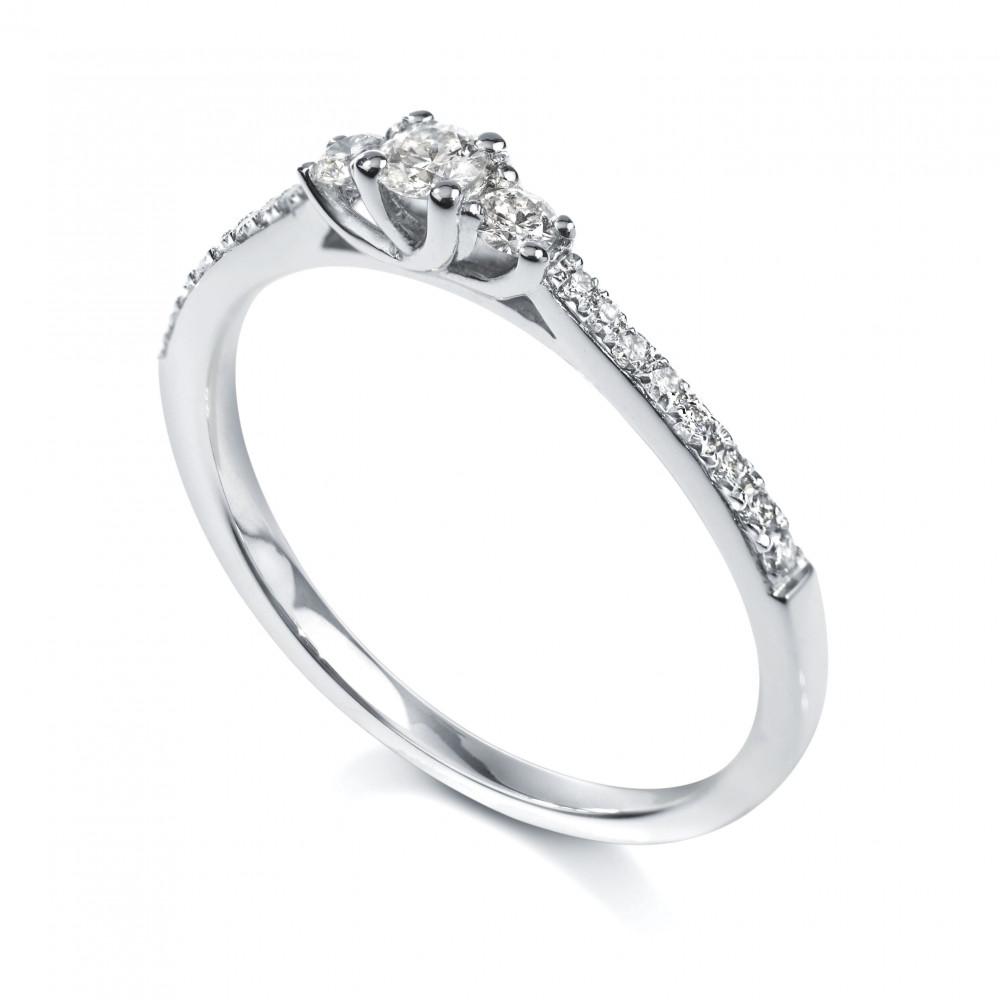 Solitaire trilogie 4 griffes accompagné Or blanc 750/00 diamant 0.28 carat