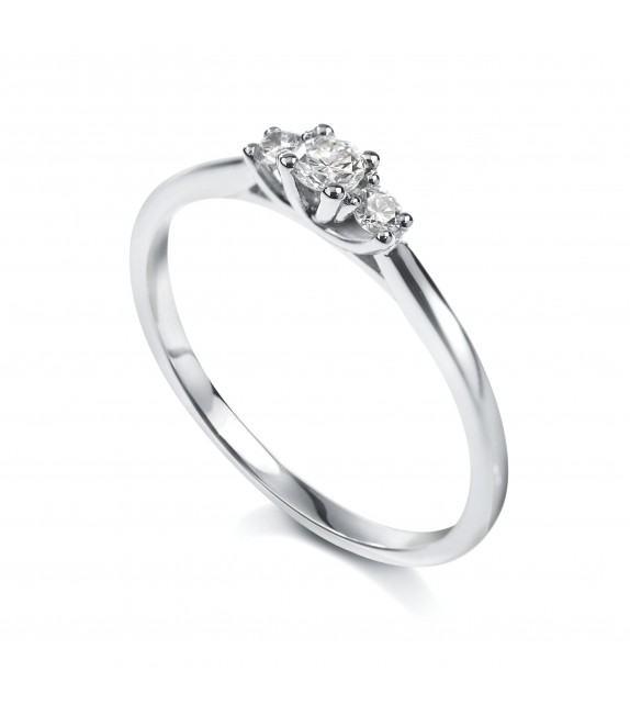 Solitaire trilogie 4 griffes Or blanc 750/00 diamant 0.10 carat