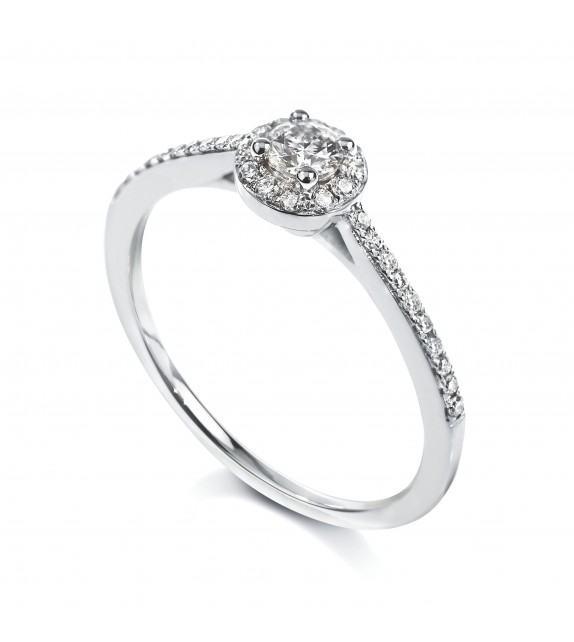 Solitaire Halo 4 griffes accompagné Or blanc 750/00 diamant 0.24 carat