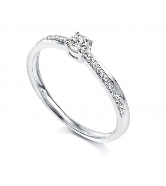 Solitaire 4 griffes accompagné Or blanc 750/00 diamant 0.15 carat
