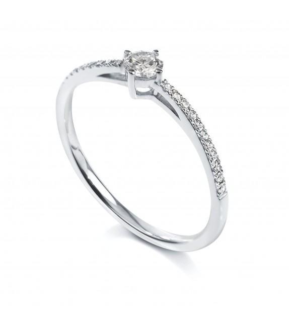 Solitaire 4 griffes accompagné Platine diamant 0.17 carat