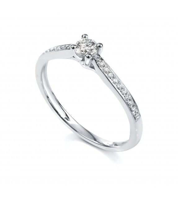 Solitaire 4 griffes accompagné Platine diamant 0.23 carat
