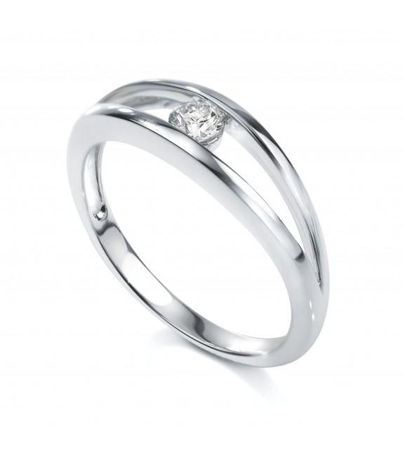 Solitaire Or blanc 750/00 diamant 0.15 carat