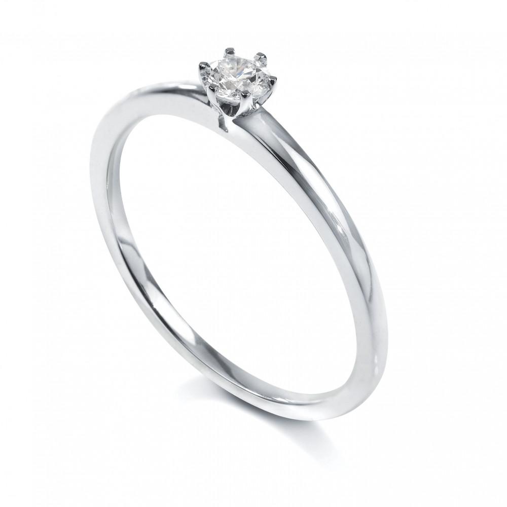 Solitaire 6 griffes Or blanc 750/00 diamant 0.20 carat