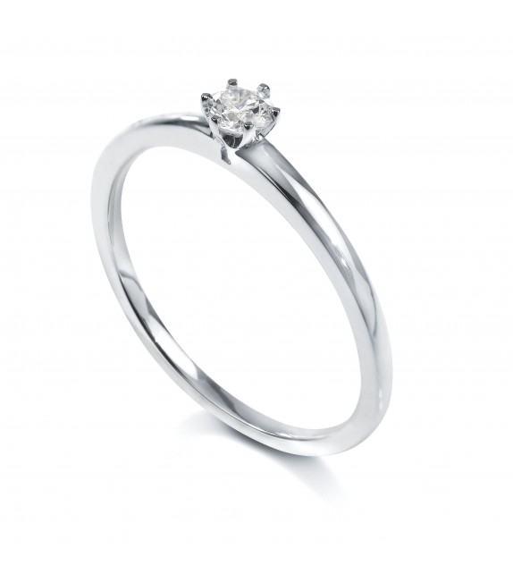 Solitaire 6 griffes Or blanc 750/00 diamant 0.10 carat