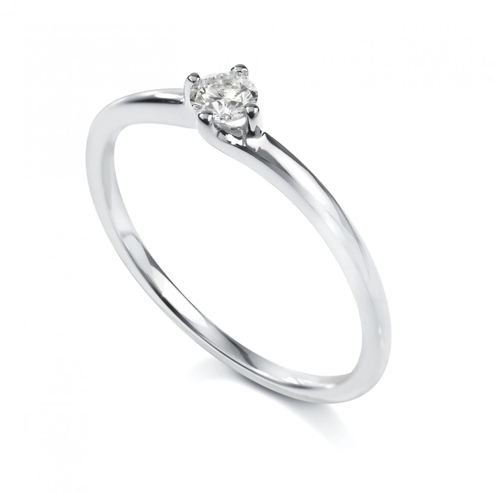 Solitaire 4 griffes Platine diamant 0.10 carat