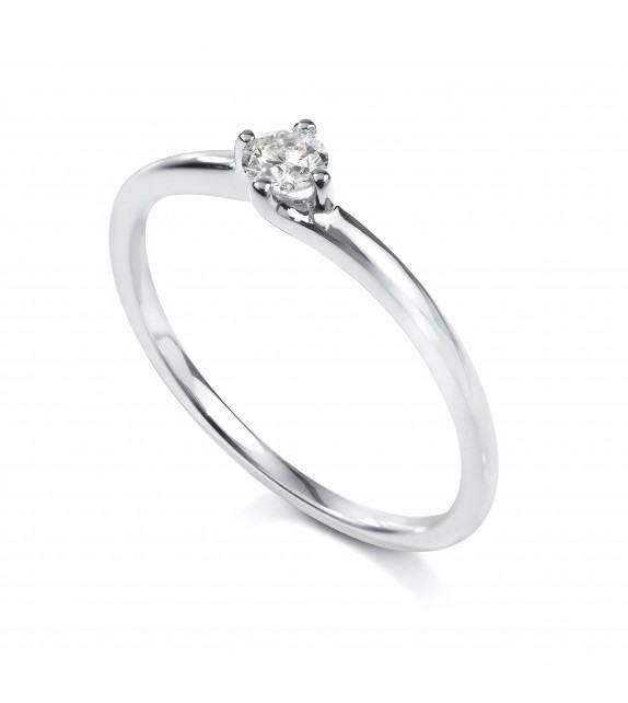 Solitaire 4 griffes Or blanc 750/00 diamant 0.15 carat