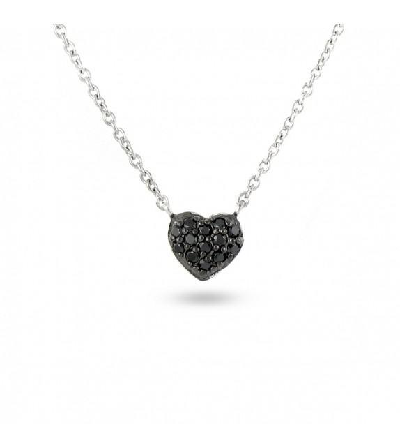 Collier cœur en Argent 925/00 et oxydes de zirconium noirs