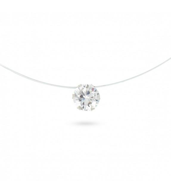 Collier fil transparent Argent 925/00 et zircon