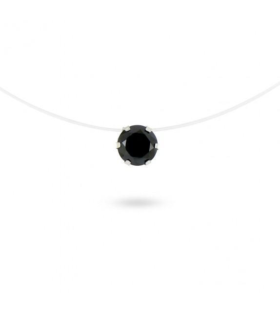 Collier fil transparent Argent 925/00 et zircon noir